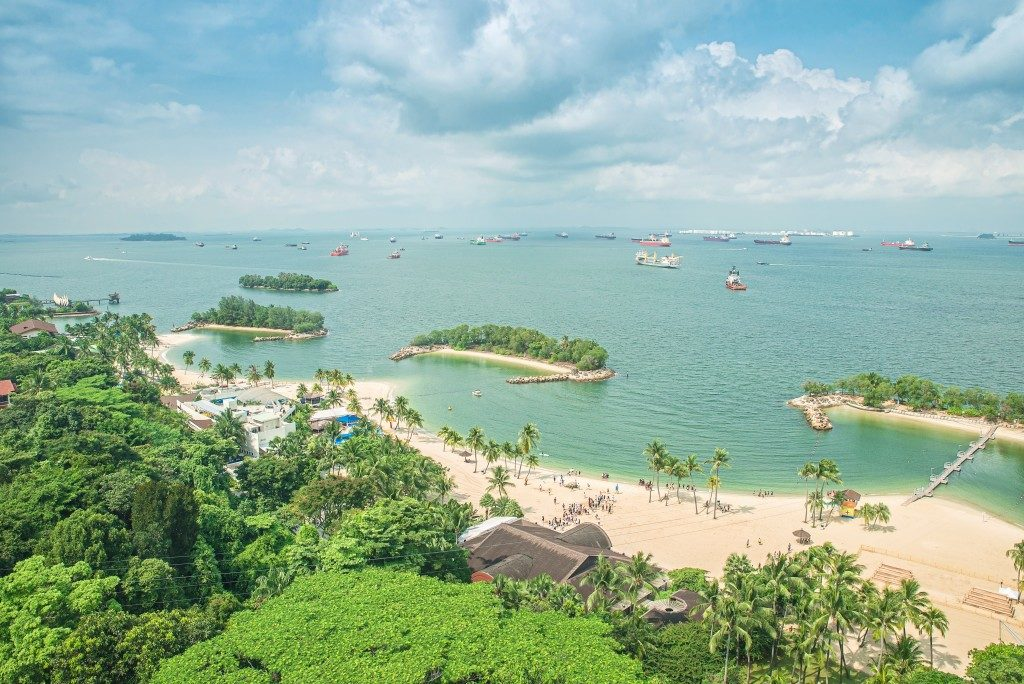 aerial view of beach in sentosa island